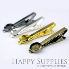 2pcs Nickel Free Tie Clip With 12mm Round Pad (XJ165)