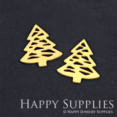 10pcs Raw Brass Christmas Tree Charm Pendant Fit For Necklace Earring Brooch RD176