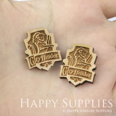 4pcs DIY Laser Cut Wooden Gryffindor Crest Patch Harry Potter Charms SWC154