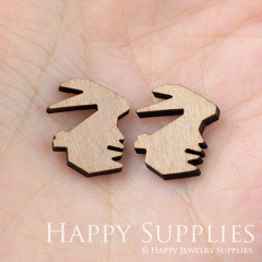 4pcs DIY Laser Cut Wooden Rabbit Charms SWC19