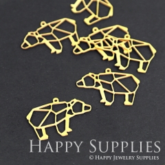 10pcs Raw Brass Bear Charm Pendant Fit For Necklace Earring Brooch RD078