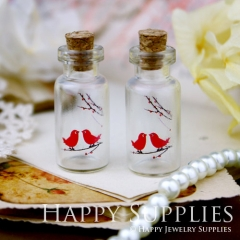 4pcs 35x16mm Kiss Birds Handmade Photo Glass Tiny Bottle Vials Pendants PB-M25