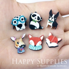 4pcs DIY Laser Cut Photo Wooden Dog Panda Fox Rabbit Charms