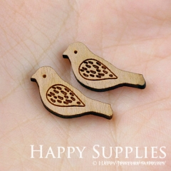 4pcs DIY Laser Cut Wooden Bird Charms SWC20