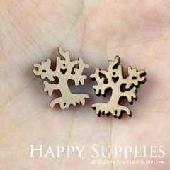 4pcs DIY Laser Cut Wooden Tree Charms SWC130