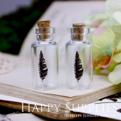 4pcs 35x16mm Feather Handmade Photo Glass Tiny Bottle Vials Pendants PB-M17