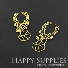 4pcs Raw Brass Deer Charm Pendant Fit For Necklace Earring Brooch RD080