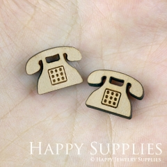 4pcs DIY Laser Cut Wooden Telephone Charms SWC118