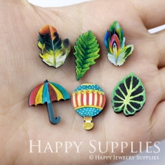 4pcs DIY Laser Cut Photo Wooden Hot air balloon Colored leaf Umbrella Charms