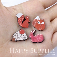 4pcs DIY Laser Cut Photo Wooden Red Rabbit Hedgehog Fox Squirrel Charms
