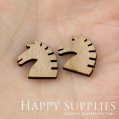 4pcs DIY Laser Cut Wooden Horse Charms SWC22