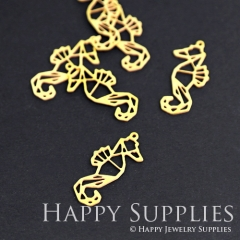 10pcs Raw Brass Hippocampus Charm Pendant Fit For Necklace Earring Brooch RD077