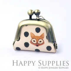 1pcs Fox and Dots Handmade Tiny Antique Bronze Photo Leather Purse Pendant Necklace QB068