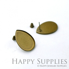 10pcs Antique Bronze Teardrop Earring Posts With 18x25mm Teardrop Base Setting (05969)
