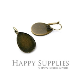 10pcs 18x25mm Antique Bronze Earring Hoop with 18x25mm Teardrop Pad (05925)