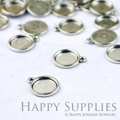 10Pcs 12mm Antique Silver Cabochon Pendant Base with Loop (12240-S)