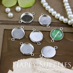 10Pcs 12 mm Silver Plated Cabochon Pendant Base with 2 loops (GD157)