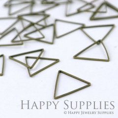 20pcs - 15mm High Quality Antiqued Vintage Bronze Brass Triangle Charms / Pendants Connector(07058)