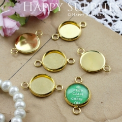 10Pcs 12 mm Golden Plated Cabochon Pendant Base with 2 loops (GD141)