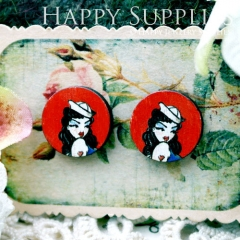 8Pcs 15mm Lady Round Handmade Photo Wood Cut Cabochon CC080