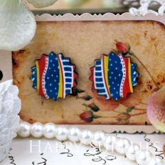 8Pcs Line Pattern Explosion Handmade Photo Wood Cut Cabochon CD025