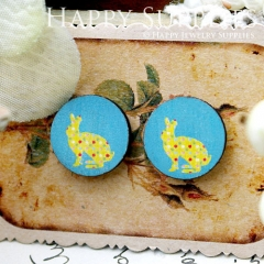 8Pcs 15mm Rabbit Round Handmade Photo Wood Cut Cabochon CC068