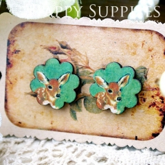 8Pcs Deer Flower Handmade Photo Wood Cut Cabochon CF031
