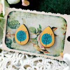 8Pcs Tree Tear Drop Handmade Photo Wood Cut Cabochon CH021