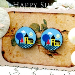 8Pcs 15mm Castle Round Handmade Photo Wood Cut Cabochon CC067