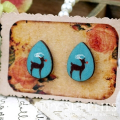 8Pcs Deer Tear Drop Handmade Photo Wood Cut Cabochon CH020