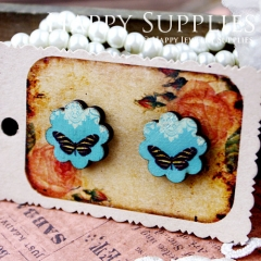 8Pcs Butterfly Flower Handmade Photo Wood Cut Cabochon CF008