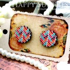 8Pcs Line Pattern Explosion Handmade Photo Wood Cut Cabochon CD017