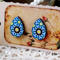 8Pcs Flower Tear Drop Handmade Photo Wood Cut Cabochon CH009