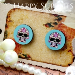 8Pcs 15mm Happy Skull Round Handmade Photo Wood Cut Cabochon CC046
