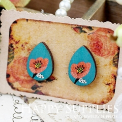 8Pcs Flower Tear Drop Handmade Photo Wood Cut Cabochon CH018