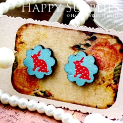 8Pcs Rabbit Flower Handmade Photo Wood Cut Cabochon CF017