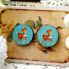 8Pcs 15mm Deer Round Handmade Photo Wood Cut Cabochon CC063
