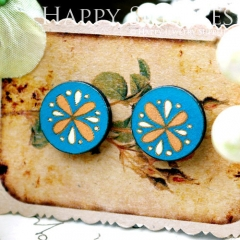 8Pcs 15mm Flower Round Handmade Photo Wood Cut Cabochon CC062