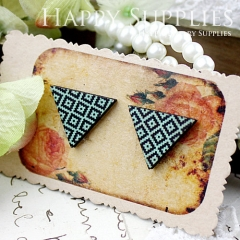 8Pcs Square Pattern Triangle Handmade Photo Wood Cut Cabochon CG006