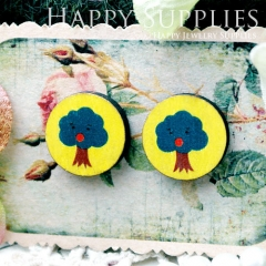 8Pcs 15mm Tree Round Handmade Photo Wood Cut Cabochon CC077