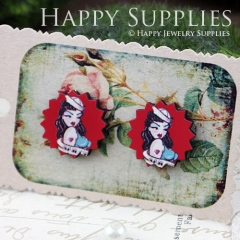 8Pcs Lady Explosion Handmade Photo Wood Cut Cabochon CD001