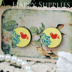 8Pcs 15mm Tree and Bird Round Handmade Photo Wood Cut Cabochon CC058
