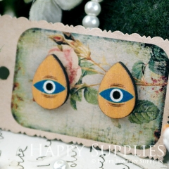 8Pcs Eye Tear Drop Handmade Photo Wood Cut Cabochon CH017