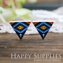 10Pcs Geometry Colorful Triangle Triangle Handmade Photo Wood Cut Cabochon WG16