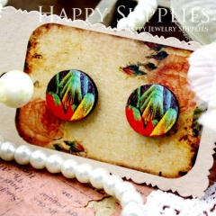 8Pcs 15mm Rainbow Round Handmade Photo Wood Cut Cabochon CC053