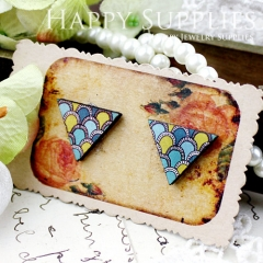 8Pcs Peacork Triangle Handmade Photo Wood Cut Cabochon CG007