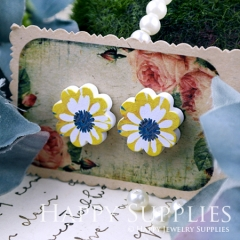 10Pcs 15mm Yellow Flower Flower Handmade Photo Wood Cut Cabochon WF037