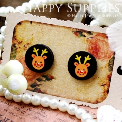 8Pcs 15mm Happy Bear Round Handmade Photo Wood Cut Cabochon CC045