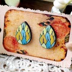 8Pcs Pattern Tear Drop Handmade Photo Wood Cut Cabochon CH012