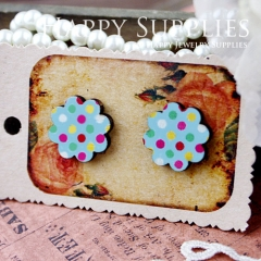 8Pcs Dots Flower Handmade Photo Wood Cut Cabochon CF007